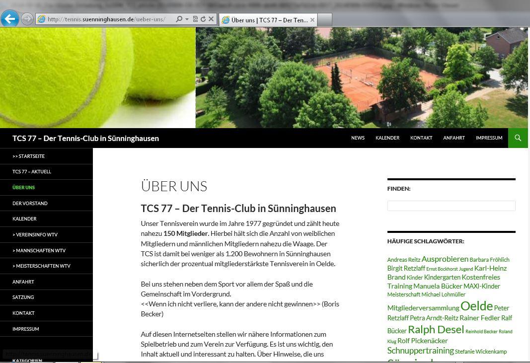 TCS 77 - Integrierte Internetseite des Tennisverein